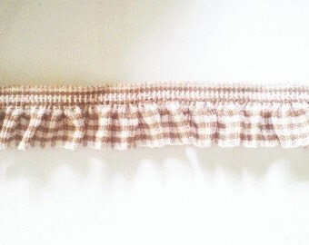 2 yards - 1 side trim - Brown Gingham Cotton elastic trim - size 20  mm