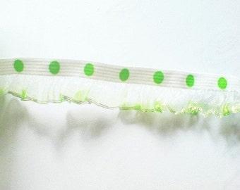 2 yards - 1 side trim - Green Dot Silver Trim organza ruffle elastic trim - size15 mm