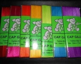 Single Fold Fashion Bias Tape - 7 Rainbow Colors - Total 21 yards - size 12 mm