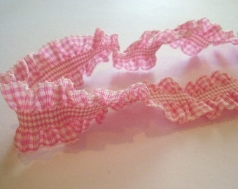 2 yards - Pink Gingham ruffle cotton elastic trim - size 23 mm