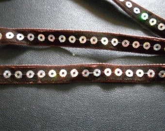 2 yards - Dark Brown Velvet Ribbon Trim with Silver round Sequins - size 10 mm