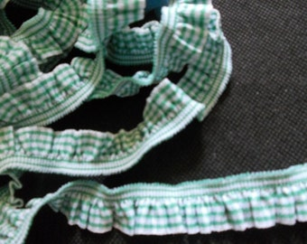 2 yards - 1 side trim - DARK GREEN Gingham Cotton Elastic Trim - size 20 mm