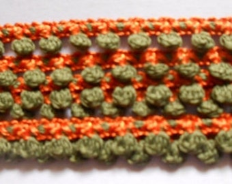 2 yards -  Orange and Dark Green  Ball Fringe Trim - size 9 mm