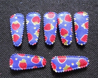 25 pcs -  Cute Strawberry Printed Hair Clip COVERS for toddler - size 35 mm - BLUE