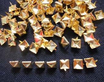 100 pcs Gold Tone Pyramid Stud spot spike for leather craft - size 9 mm
