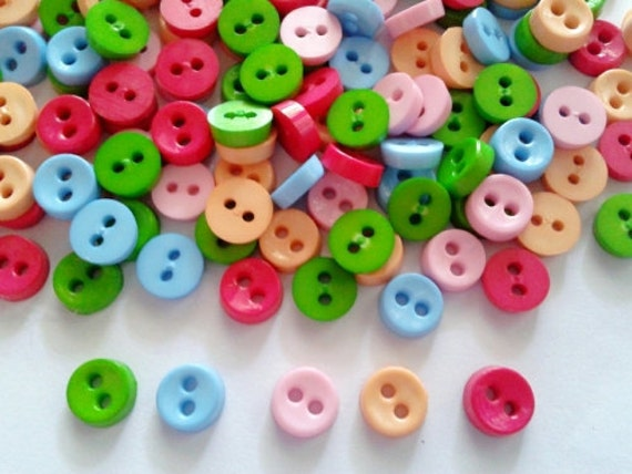 100 pcs - Tiny buttons 2 hole  -   size 6 mm Red Pink Green Pastel Orange Blue