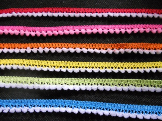 6 yards - 6 color with white pom pom -  tiny pom pom trim - size 10 mm