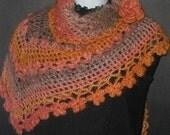 INSTANT DOWNLOAD Crochet Pattern - Stunning Vibrant Orange Shawl