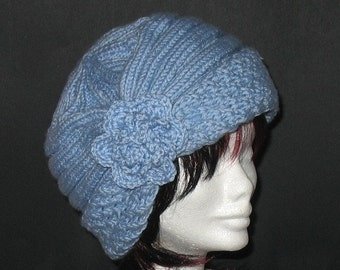 INSTANT DOWNLOAD Knitting PATTERN - Sky Blue Charming Wishful Hat (Cloche-Slouchy)