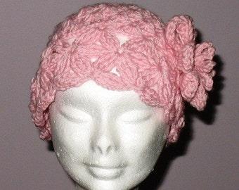 INSTANT DOWNLOAD Crochet PATTERN - Beautiful Vintage Look Pink Flower Hat