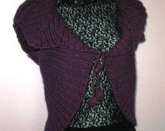 INSTANT DOWNLOAD Knitting Pattern - Striking Purple Rotlaub Leaf Collar Shrug (No Yarn Breaking)