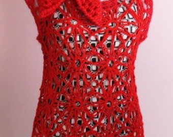 INSTANT DOWNLOAD Crochet Pattern - Eye Catching Red Hot Flaming Sunflower Top (NO Yarn Breaking)