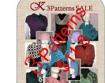 3 Crochet and Knitting PATTERNS Sale