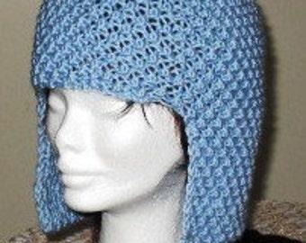 INSTANT DOWNLOAD Knitting Pattern - Avant-Garde Vintage Look Sky Blue Hat
