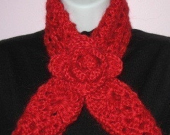 INSTANT DOWNLOAD Crochet PATTERN - Xmas Gift Rose Red Heart Scarf Neckwarmer and Headband