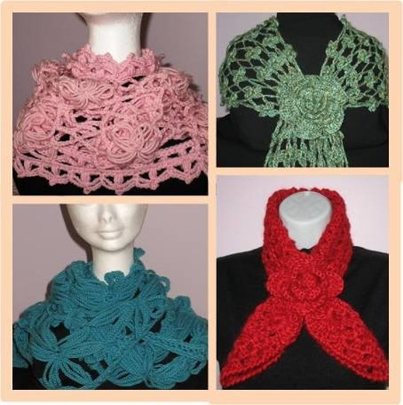 Crochet Patterns Unique : Beautiful Unique Crochet Scarf Patterns by redjk on Etsy