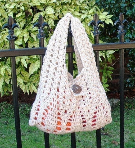 Instant Download Crochet Pattern - Stylish Creamy Pine Tree Handbag (For Beginner)