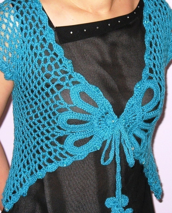 Download Crochet Patterns : INSTANT DOWNLOAD Crochet Pattern - Lovely Aqua Butterfly Shrug - Large ...