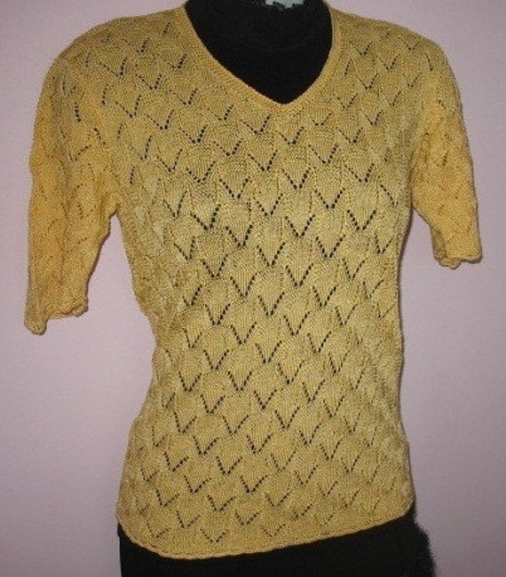 INSTANT DOWNLOAD Knitting Pattern - Elegant Mustard Lace V Neck Short Sleeve Top