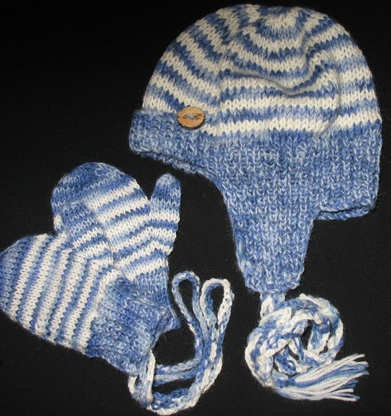 INSTANT DOWNLOAD Knitting Pattern - Cute Sherlock Holms Baby Hat and Mittens