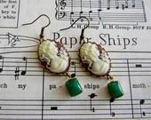 Maria. maroon and green cameo dangle earrings