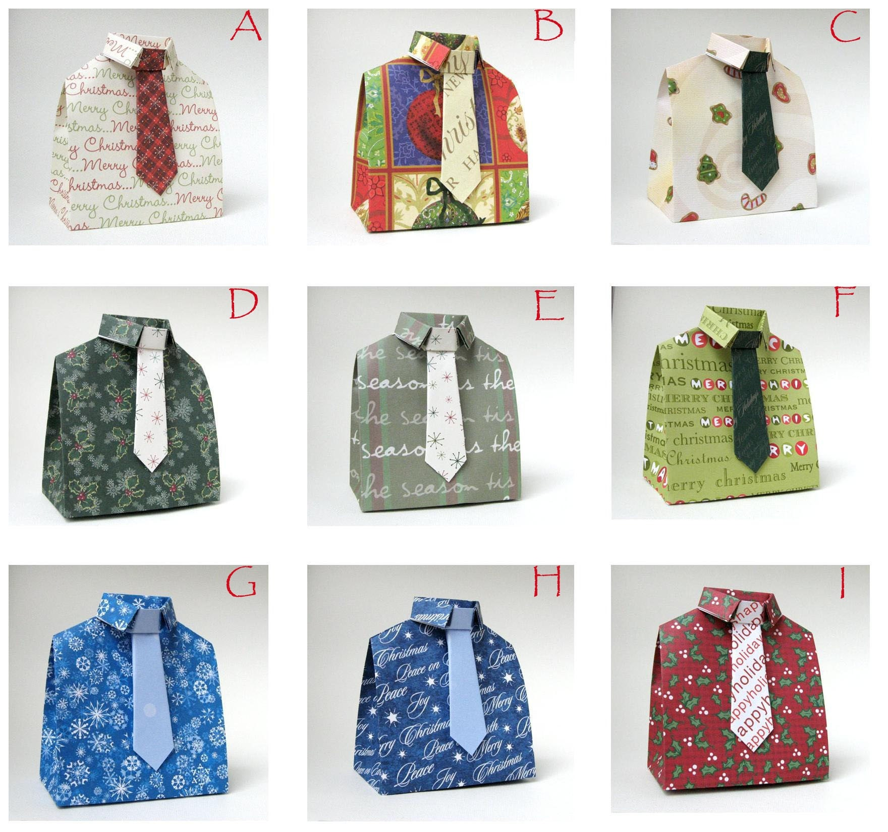 pick 3 3 d origami shirt and tie favor box in christmas