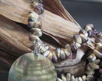 Indian Corn Necklace Native American Made Natural Corn Real Corn with Shell Pendant