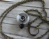 Pearl Rosebud Necklace Dove Grey and Black