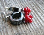 Hematite Rings Red Coral Earrings Sterling Silver