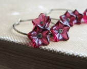 Czech Glass Flower Earrings Magenta Flowers Botanical Jewelry Antique Brass Sleeper Hoops