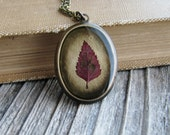 Pressed Leaf Necklace Botanical Jewelry Resin Spirea Leaf Plant Oval Pendant Antique Brass Chain