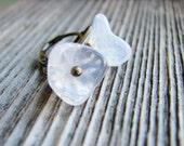 Czech Glass Flower Earrings Creamy White Glass Flowers Leverback Antique Brass Botanical Jewelry