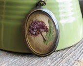 Pressed Flower Necklace Botanical Jewelry Resin Preserved Plants Purple Spirea Oval Pendant Antique Brass Chain