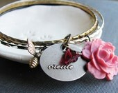 Flower Bangle Bracelets Upcycled Vintage Bracelets Pink Flower Cabochon Create Charm Honey Bee Charm Botanical Jewelry Bracelets