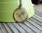 Real Flower Necklace Pressed White Botanical Jewelry Queen Anne's Lace Pressed Plant Flower Resin Nature Inspired Antique Brass Chain