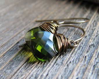 Green Crystal Earrings Wire Wrapped Crystal Briolettes Brass Minimalist Fresh Modern Ear Candy