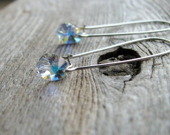 Crystal Briolette Earrings Long Kidney Sterling Silver Hooks Clear Crystals Briolettes