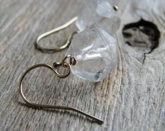 Czech Glass Bead Earrings Gold Filled Earrings Minimalist Modern Clear Rough Cut Czech Glass Beads