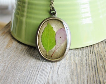 Real Pressed Leaf Necklace Botanical Jewelry Resin Spirea Barberry Leaf Plant Oval Pendant Nature Inspired Antique Brass Chain