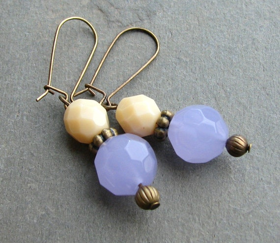 Earrings - Lavender Glass and Cream Beads