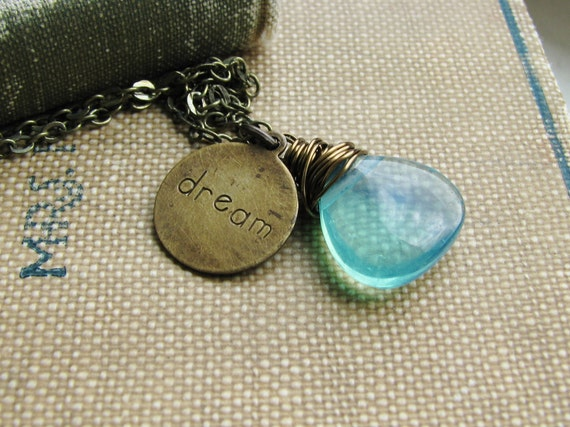 Charm Necklace Blue Opalite Briolette and Brass Charm Dream Summer Beach Minimalist