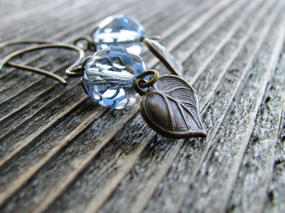 Botanical Jewelry Czech Glass Earrings Faceted Glass Beads Filigree Caps Brass Leaves