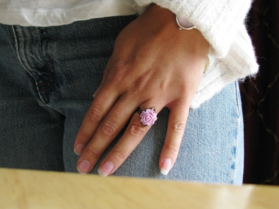 Pink Rose Flower Ring Acrylic Resin Cabochon Pink Mauve Cabbage Rose