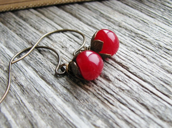 Beaded Button Earrings Cherry Red Button Beads Antique Brass Minimalist Modern Fresh Red Berries