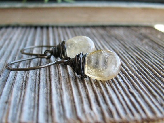 Citrine Earrings Wire Wrapped Citrine Briolettes Smooth Honey Whiskey Minimalist Modern Fresh