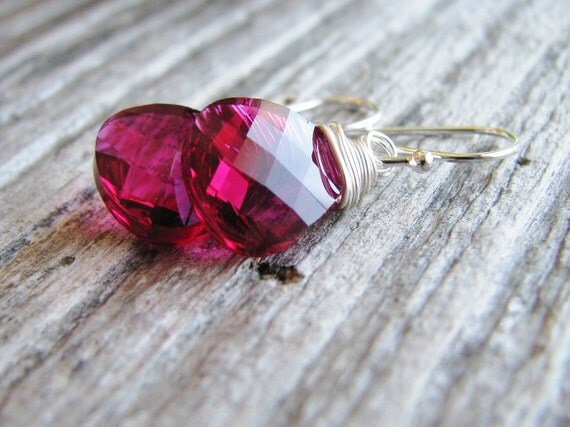 Hot Pink Briolette Earrings Wire Wrapped Sterling Silver Crystal Briolettes