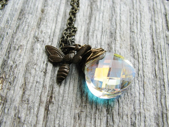 Honey Bee Necklace Wire Wrapped Crystal Briolette Brass Honey Bee Charm Wire Wrapped Jewel Minimalist Delicate Nature Jewelry Prismatic