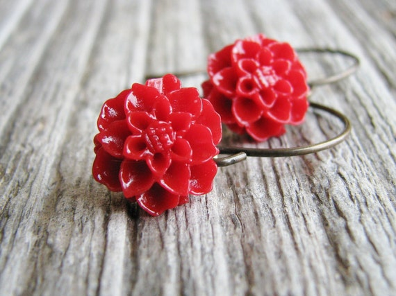 Red Flower Earrings Botanical Jewelry Acrylic Cabocon Flower Antique Brass Hooks