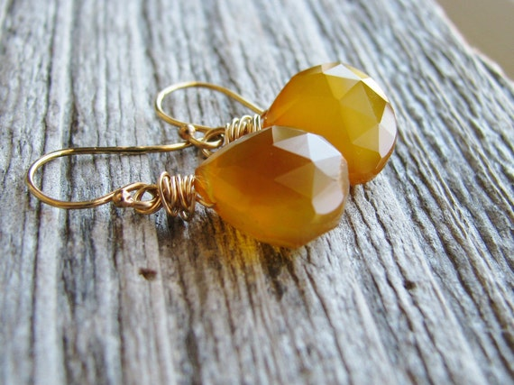 Butterscotch Briolette Earrings Chalcedony Briolette Earrings Briolettes Warm Honey Yellow Gold Filled - Butterscotch