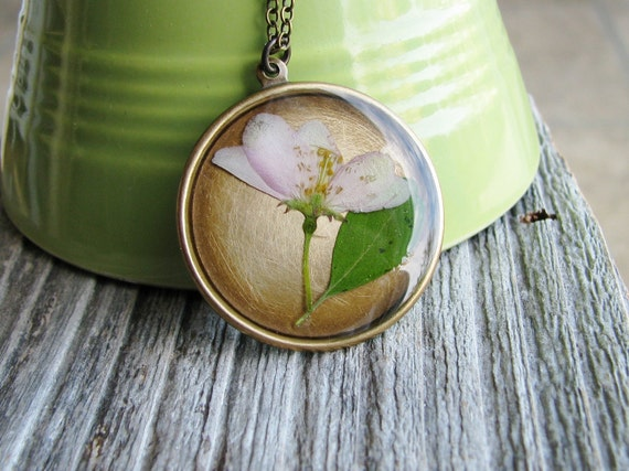 Bridal Crabapple Botanical Necklace Real Plant Botanical Jewelry Pressed Flowers Resin Antique Brass Chain Nature Inspired